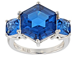 Blue Lab Created Spinel Rhodium Over Sterling Silver 3-Stone Ring 9.78ctw