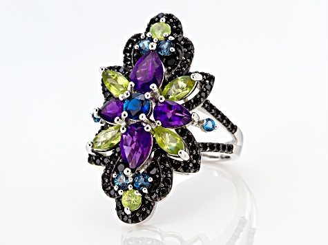Purple amethyst rhodium over silver ring 4.56ctw