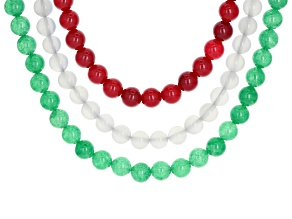 Green, white and red onyx rhodium over sterling silver 3 necklace set