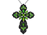Green chrome diopside rhodium over sterling silver pendant with chain 11ctw