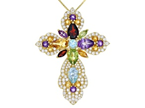 Multi-gem 18k gold over silver cross pendant with chain 10.97ctw