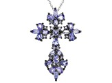Blue Tanzanite Rhodium Over Sterling Silver Cross Pendant with Chain 2.56ctw