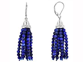 Blue lapis lazuli tassel sterling silver dangle earrings
