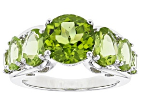 Green peridot rhodium over sterling silver ring 5.58ctw