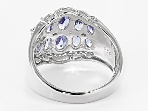 Blue tanzanite rhodium over sterling silver ring 2.93ctw