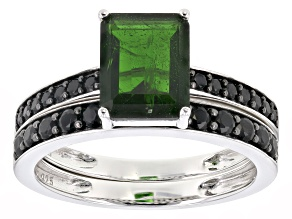 Green chrome diopside rhodium over silver 2 ring set 3.12ctw