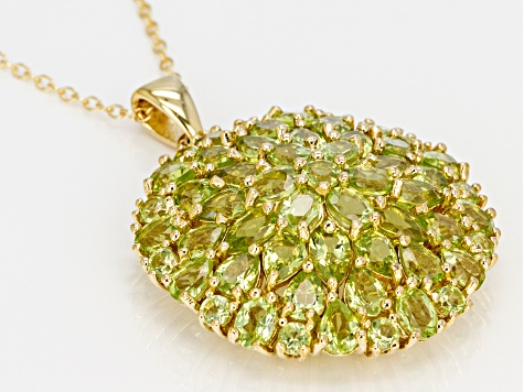 Green peridot rhodium over sterling silver pendant with chain 7.12ctw