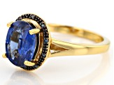 Blue Kyanite 18k Yellow Gold Over Sterling Silver ring 2.74ctw