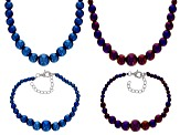 Multi-color hematine sterling silver necklace and bracelet set