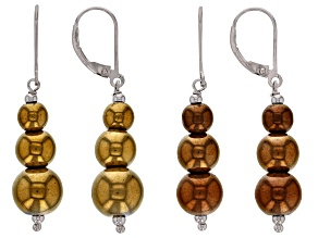 Multi-color hematine sterling silver earrings