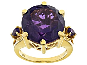 Purple amethyst 18k yellow gold over sterling silver ring 12.24ctw