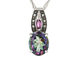 Mystic Fire Green Topaz(R) Rhodium Over Silver Pendant with Chain 4.91ctw