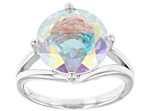 Multicolor Mercury Mist(R) topaz rhodium over silver ring 7.01ct