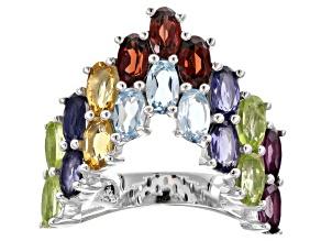 Multi gemstones rhodium over sterling silver ring 3.85ctw