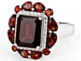 Red garnet rhodium over sterling silver ring 5.88ctw
