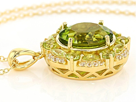 Green Manchurian Peridot™ 18k gold over silver pendant with chain 6.15ctw