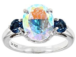 Multi-color Mercury Mist(R) topaz rhodium over silver ring 4.29ctw