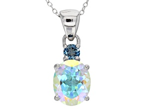 Multi-color Mercury Mist(R) topaz rhodium over silver pendant with chain 4.01ctw