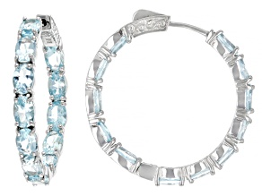 Sky Blue Topaz Rhodium Over Sterling Silver Inside Outside Hoop Earrings 11.83ctw