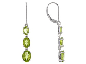 Green peridot rhodium over silver earrings 4.26ctw