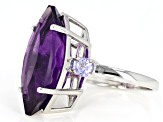 Purple amethyst rhodium over silver ring 8.11ctw