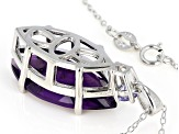 Purple amethyst rhodium over silver pendant with chain 7.88ctw