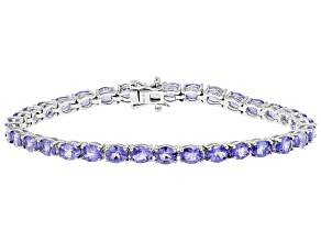 Blue tanzanite rhodium over sterling silver line bracelet 9.82ctw