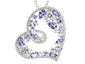 Blue tanzanite rhodium over sterling silver pendant with chain 1.52ctw