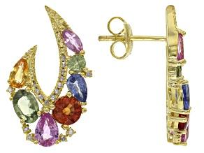 Multi-sapphire 18k gold over silver earrings 4.69ctw