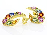 Multi-sapphire 18k gold over silver earrings 4.69ctw