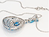 Blue turquoise rhodium over silver pendant with chain 5.12ctw