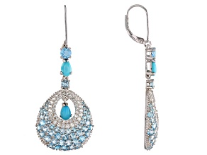Blue turquoise rhodium over silver earrings 6.44ctw