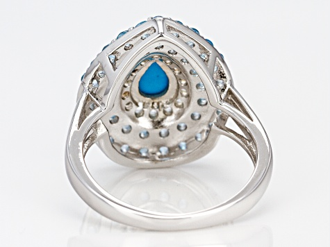 Blue turquoise rhodium over silver ring 1.69ctw