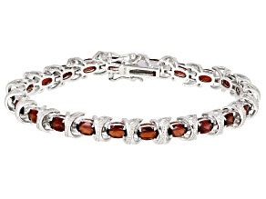 Red garnet  rhodium over sterling silver bracelet 8.92ctw