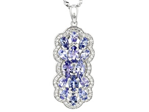 blue tanzanite rhodium over silver pendant with chain 4.52ctw