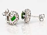 Green chrome diopside  rhodium over sterling silver earrings .90ctw