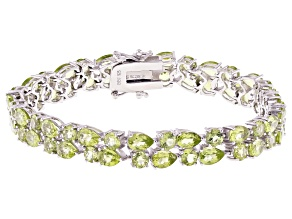 Green Peridot Rhodium Over Sterling Silver Bracelet 19.59ctw