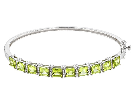 Green peridot rhodium over silver bracelet 7.16ctw