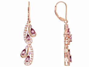Pink Color Shift Garnet 18k Rose Gold Over Sterling Silver Dangle Earrings 2.34ctw