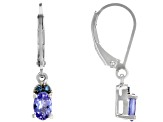 Blue Tanzanite Rhodium Over Sterling Silver Dangle Earrings .85ctw