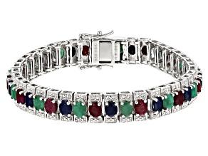 Multi-gem rhodium over silver bracelet 14.35ctw