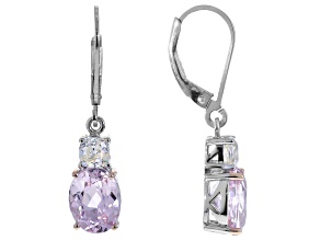 Pink kunzite rhodium over sterling silver earrings 5.16ctw