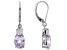 Pink kunzite rhodium over sterling silver earrings 5.16ctw