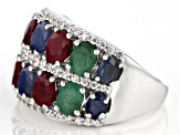 Multi-gem rhodium over silver band ring 4.86ctw