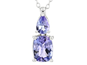 Blue tanzanite rhodium over silver pendant with chain 1.61ctw
