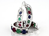 Multi-gem rhodium over silver hoop earrings 8.71ctw