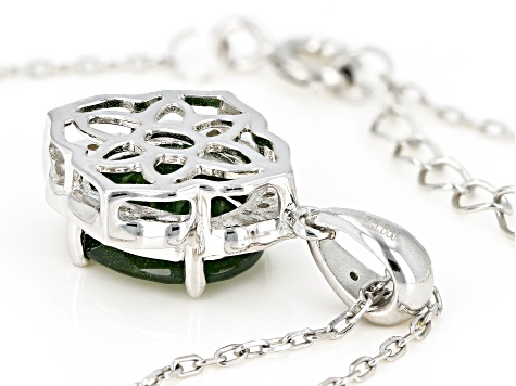 Green chrome diopside rhodium over sterling silver pendant with chain 2.93ctw