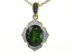 Green chrome diopside 18k gold over silver pendant with chain 2.93ctw