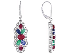 Multi-gem rhodium over sterling silver dangle earrings 4.29ctw