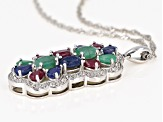 Multi gem rhodium over sterling silver pendant with chain 4.22ctw